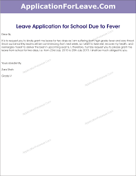 Leave Application for School Due to Fever
