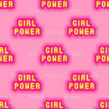 Girl Power Text Seamless Pattern ...