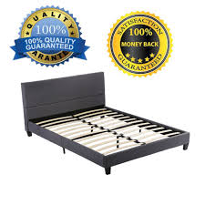 grey linen fabric upholstered platform bed with wooden slats queen size 0