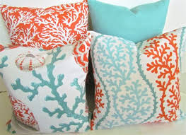Coral Outdoor Pillow Also Orange Aqua Mint Green Covers