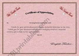 Certificate Of Appreciate Certificate Of Appreciation Esl Worksheet By Miss Noor