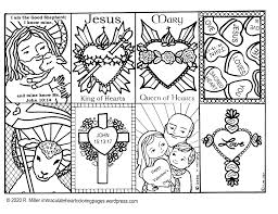 Candies in the shape of a heart. Immaculate Heart Coloring Pages Catholic Christian Pages To Color
