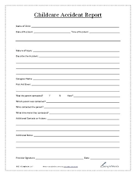 Report Sheet Template Incident Report Sheet Template Child Care Accident Report General