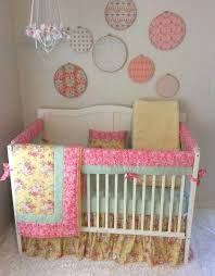 gold baby bedding sets baby girl crib bedding set c mint and yellow fl gold baby bedding