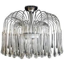 1970s italian gaetano sciolari style chrome crystal raindrop chandelier for