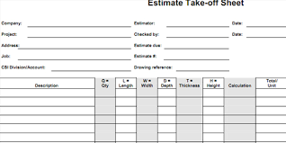 Cost Estimate Form Bid Form Estimate Worksheet Cost Sheet Estimate Format