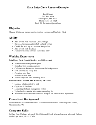 Data Entry Clerk Resume Example Free Download Vinodomia