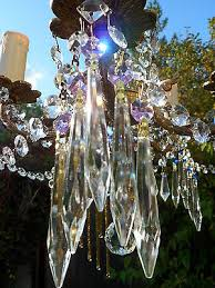 pretty purple crystal cut glass crystal icicle chandelier drops spare parts x5