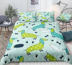 dachshund duvet cover set blue green