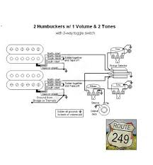2 humbucker wiring diagram vvolf me wiring two humbuckers one volume and tone controls route 249 in 2 humbucker diagram