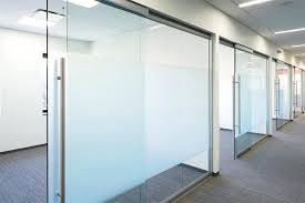 glass office door walls with soft closing sliding hardware name plates