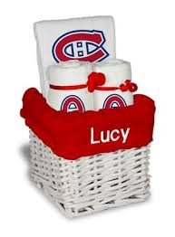 our personalized montreal canans small gift basket is a perfect hockey baby gift with 2 burp cloths and a bib personalized with the team logo
