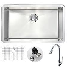 anzzi vanguard undermount stainless steel 30 in single bowl kitchen sink and faucet set with