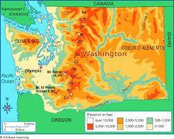 Map Of Elevation Map Washington State Oregon