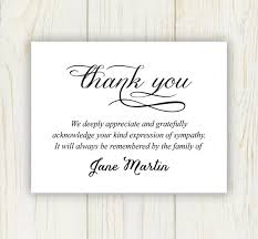 Funeral Words For Cards Awesome Funeral Thank You Card Digital File Sympathy Thank You Etsy