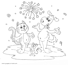 Small Picture Cat dog and mouse coloring page