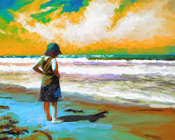 oil painting child at beach obx arts and craft festival 2016