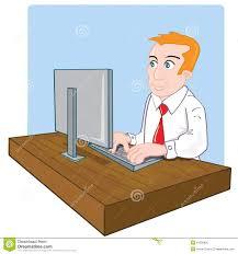 Employ De Bureau De Dessin Anim Son Bureau Illustration De