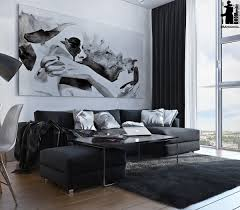 Interior Design Black And White Living Room Artistic Apartments With Monochromatic Color Schemes