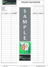 Toolbox Safety Meeting Template Talks Talking Points Word