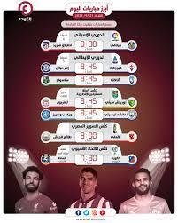مواعيد مباريات اليوم الثلاثاء 21 سبتمبر والقنوات الناقلة
