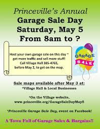 Townwide Garage Sale Flyer 2018 The Village Of Princeville