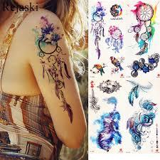 акварель ловец снов временные татуировки наклейки женщины Body Arm Art живопись Flash Tatto