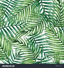 Palm Leaf Pattern Simple Watercolor Tropical Palm Leaves Seamless Pattern Vector