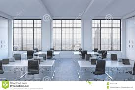 loft office furniture. Workplaces In A Bright Modern Open Space Loft Office. White Tables Equipped With Laptops And Black Chairs. New York Panoram Office Furniture