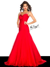 Mac Duggal High Fashion Black White Red Evening Gown Collection