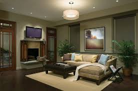 family room with brown sectional sofa modern chandelier exciting for story sylvanian families light ideas lighting