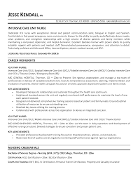 Awesome Collection Of Critical Care Nurse Resume Format Creative