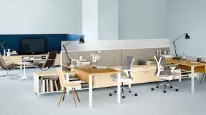 an open shared workspace outfitted with canvas office landscape workstations and storage select to
