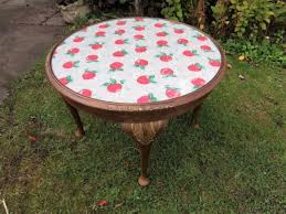 vintage round wooden glass top coffee table with cath kidston fabric apples