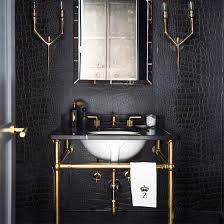 black bathroom. Masculine Glamour Bathroom In Black Leather A