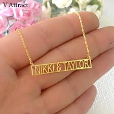 v attract roman numeral bar pendant necklaces personalized name greek letter necklace custom date colar stainless steel jewelry