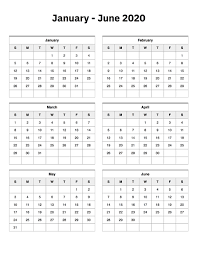 June July 2020 Calendar January To June 2020 Calendar Printable Calendar 2020