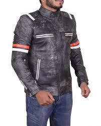 cafe racer retro moto leather jacket cafe