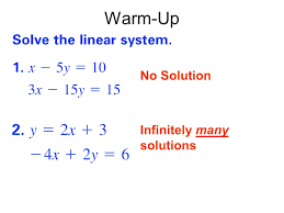 7 1 solving systems of linear equations in three variables 2 warm up no solution infinitely many solutions