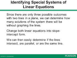 identifying special systems of linear equations 16 example without graphing