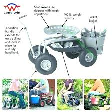 rolling garden scooter gardening tractor scoot work seat on wheels with bucket basket supply gorilla swivel
