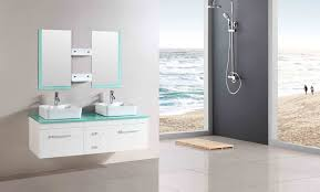 fascinating best bathroom mirrors. Fascinating Bathroom Vanity Ideas Come With Floating White Wooden Blue Glass Top And Twin Best Mirrors B