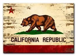 california state flag on wood 20 x 14