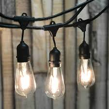Black Outdoor String Lights 330 Ft Black Commercial Medium Suspended Socket String Light Led St18 Vintage Warm White Bulbs