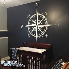 compass rose the captain vinyl decal fits on wall nautical map