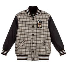 Designer Coats And Jackets Boys Beige Check Wool Jacket For Boy By Fendi Discover The