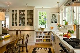 contemporary open concept kitchen for farmhouse kitchen with wood floor