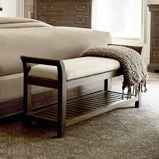 St Germain Upholstered Wood Bed Bench In Coffee