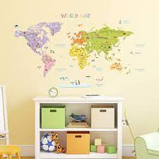 You can also choose from wall sticker, window sticker, and decorative sticker peel and stick wall decals, as well as from 1. Amazon Com Decowall Dat 1306n Colourful World Map Kids Wall Stickers Wall Decals Peel And Stick Removable Wall Stickers For Kids Nursery Bedroom Living Room Large Decor Home Improvement