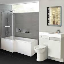1700mm Modern L Shaped Left Handed Shower Bath & Bluetooth Mirror